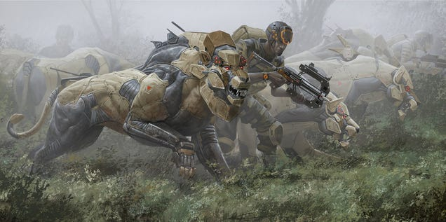 Concept Art Writing Prompt: Hunting With The Robotic Lions' Pride