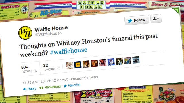 Waffle House Would Like to Know What You Thought of Whitney Houston's Funeral