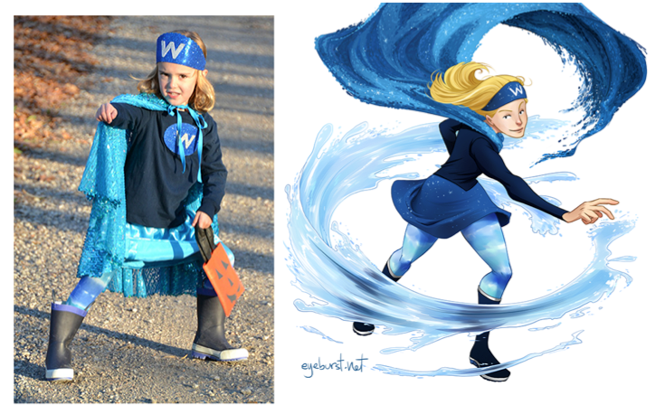 Artist transforms little girls in superhero costumes into super art