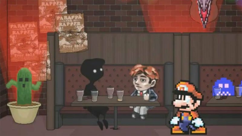 It's Mario Versus Braid in the Ultimate Bar Conversation Battle of Indie Cred