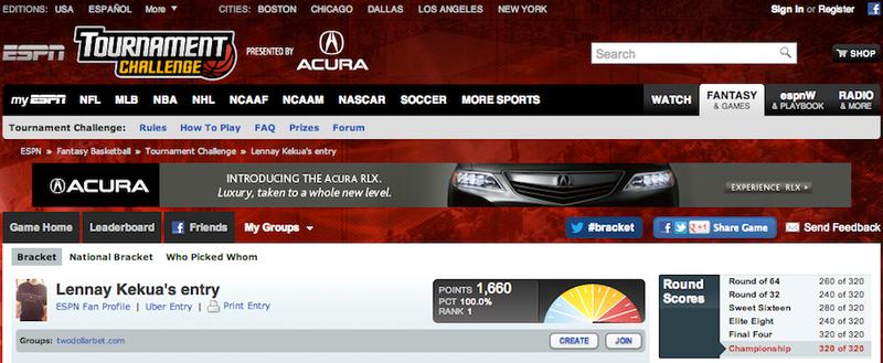 """Lennay Kekua's Entry"" Won ESPN's Tournament Challenge"