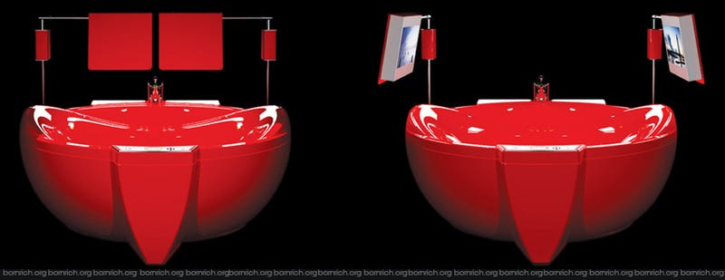 Gold-Framed, Dual-HDTV-Wielding, GSM-Controlled Bathtub Won't Get You Any Cleaner
