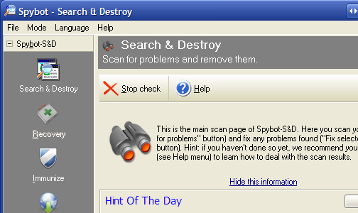 Hive Five Winner for Best Malware Removal Tool: Spybot Search & Destroy