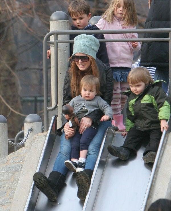 Isla & Daughter Integrate Central Park Slide