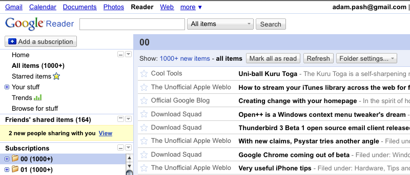 Google Reader Minimalistic Trims the Fat from Reader