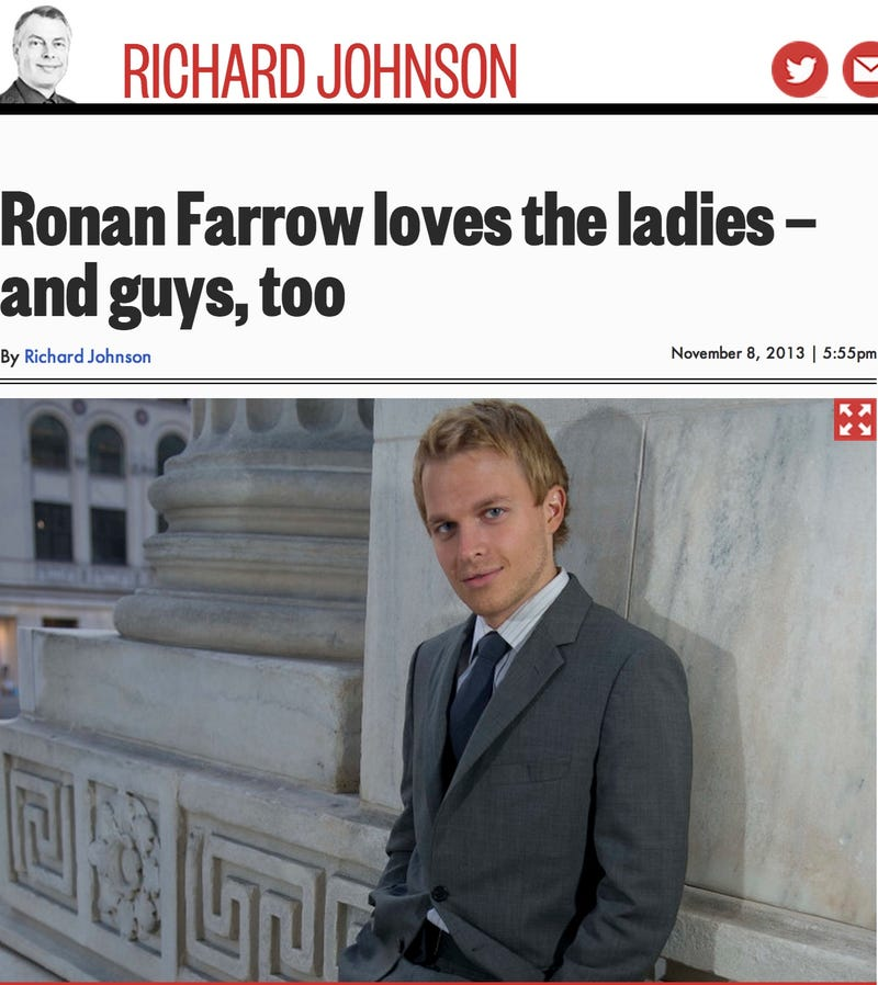 Ronan Farrow doubles his chance of a date on a Saturday night