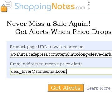 ShoppingNotes.com Alerts You on Any Product's Price Drop