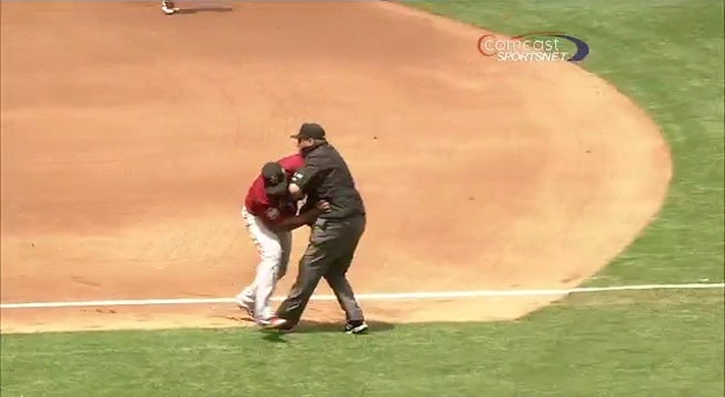 Carlos Lee Couldn't Get To The Ball, So He Tackled An Umpire Instead