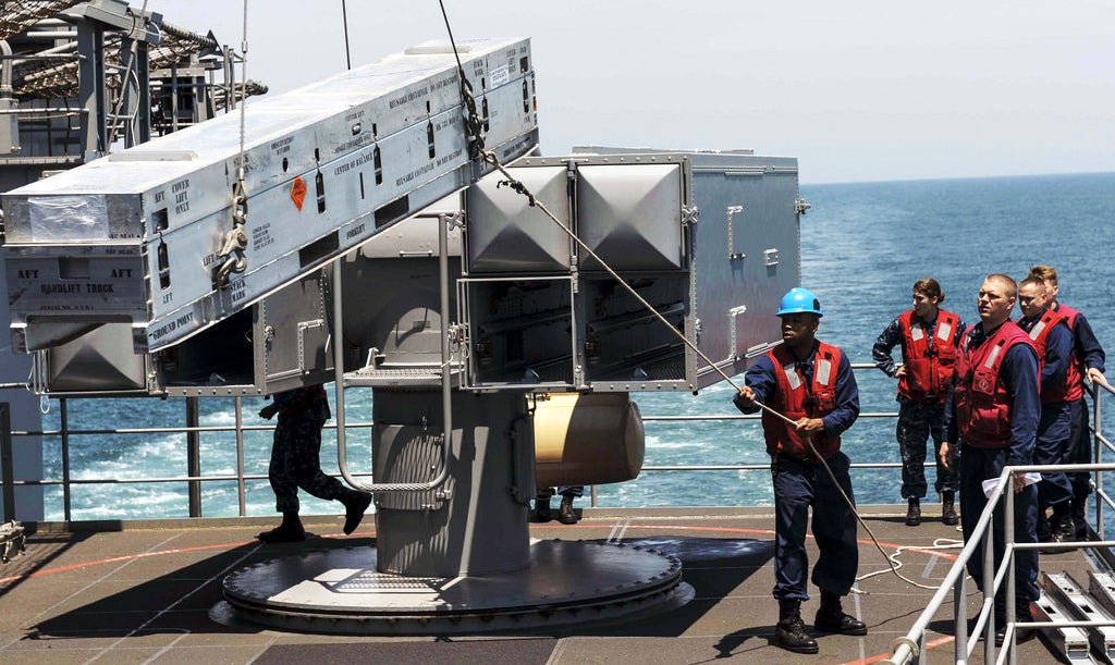 This is how they load missiles on a US Navy ship