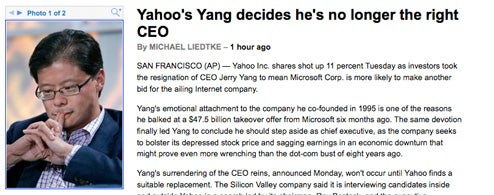 Best Jerry Yang resignation headline