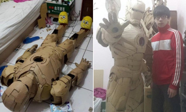 Taiwanese Cardboard Artist Makes Iron Man Suit