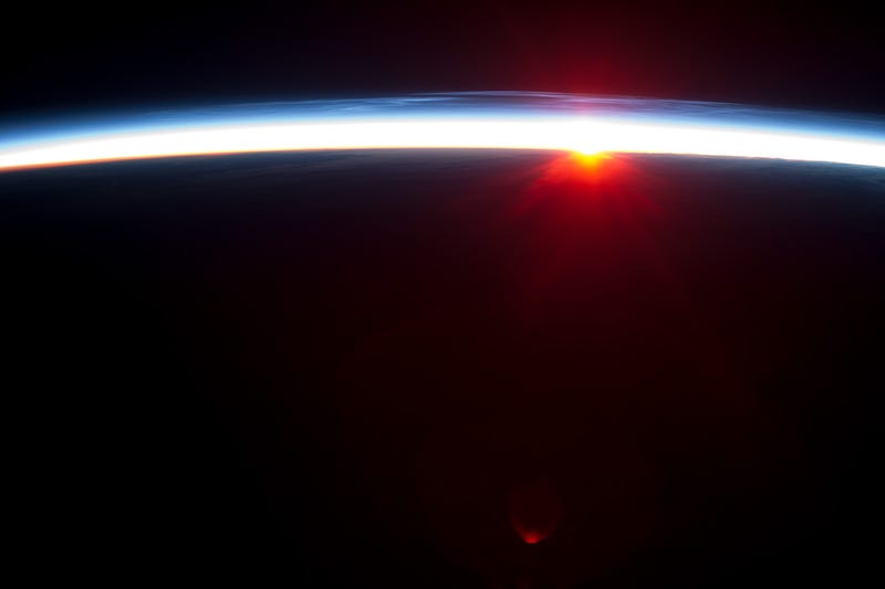 Sunrise over the Aleutian Islands, as seen from low-Earth Orbit