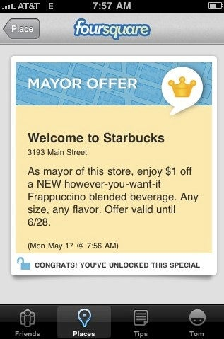 Foursquare Mayors of Starbucks Can Now Get Discounts