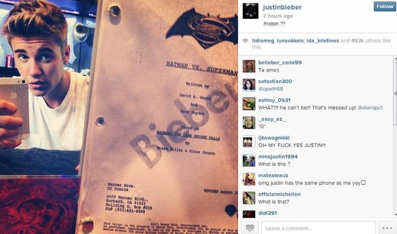 Justin Bieber Posted A Batman Vs Superman Script. Trolling...Right?