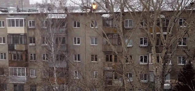 Russian teen sets himself on fire and jumps off a building just for fun