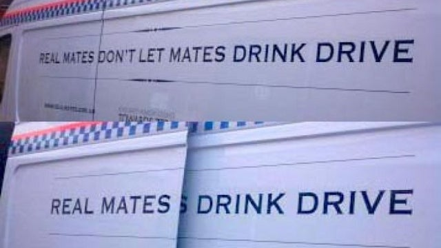 Anti-Drink and Drive Message on Police Vehicles Inadvertently Encourages the Opposite