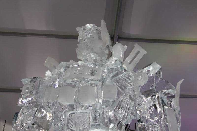 26 feet of Optimus Prime, carved out of ice
