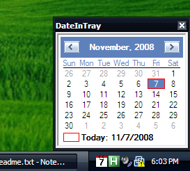 DateInTray Adds a Small, Quick Calendar to Your System Tray
