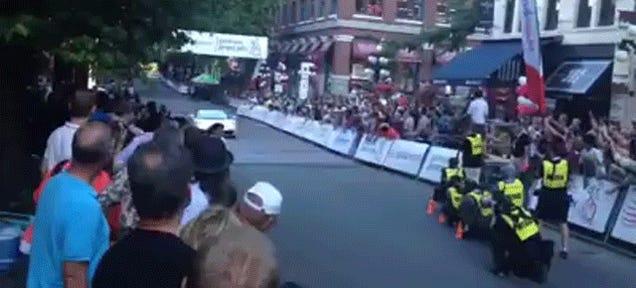 Woman Nearly Kneecapped By Lamborghini Gallardo At Bike Race