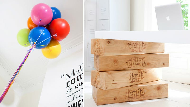 Whimsical Floating Desk Supported By Balloons and Giant Jenga Pieces