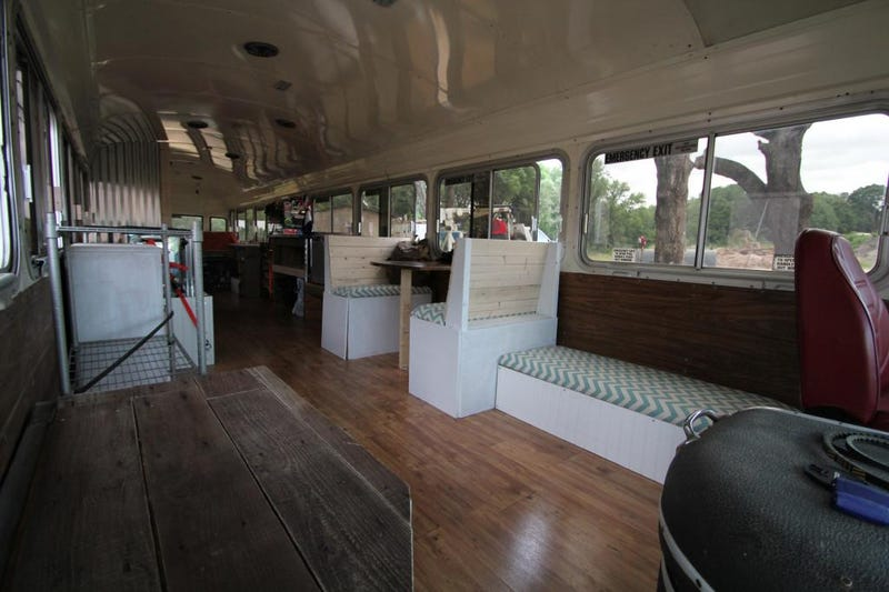 Old bus converted into motor home for cross country trip...