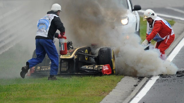 Nick Heidfeld's Formula One car exploded in flames