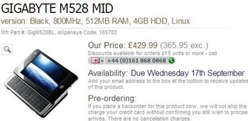 Gigabyte's 3G-Capable MID M528 Coming Out On Sept 17 For $689
