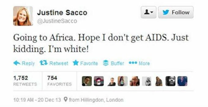 PR Exec Justine Sacco Sends Racist Tweet About Getting AIDS in Africa