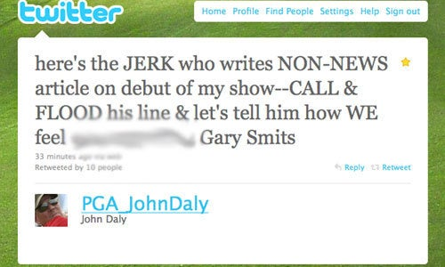 You Reveal John Daly's Personnel File, He Reveals Your Cell Phone Number