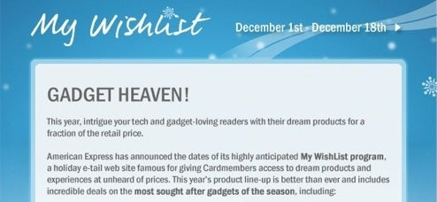 American Express My WishList Holiday Super Deals Get December 1st Launch