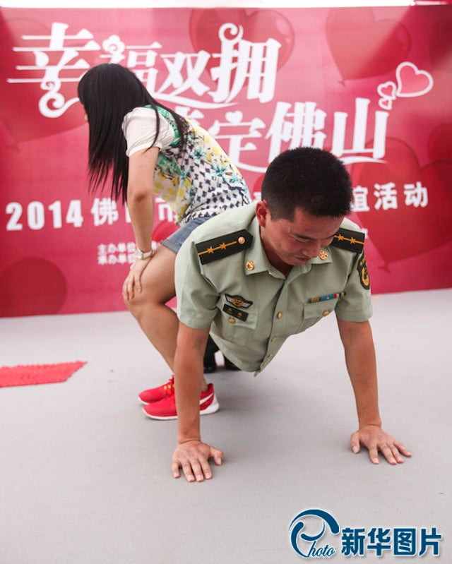 Soldiers Try Charming Women with Push Ups