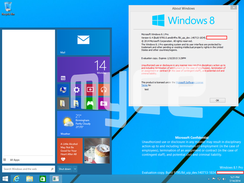Leaked Windows 9 Screenshots Show a Start Menu and a Little More Windows
