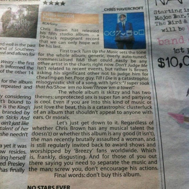 'Best Album Review You Will Ever Read' Hits Chris Brown Hard Over Violent Past
