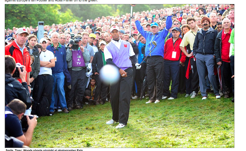 This Is What It Looks Like to Get Hit by Tiger Woods
