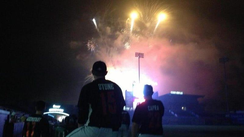 Independent League Baseball Team Lights Fireworks Before Game Ends