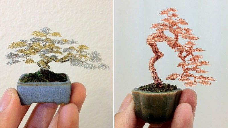 Don't Worry, You Can't Kill These Intricately Woven Wire Bonsai Trees