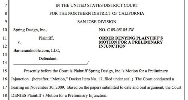 Spring Design's Injunction to Stop Barnes & Noble's Nook Sales Denied