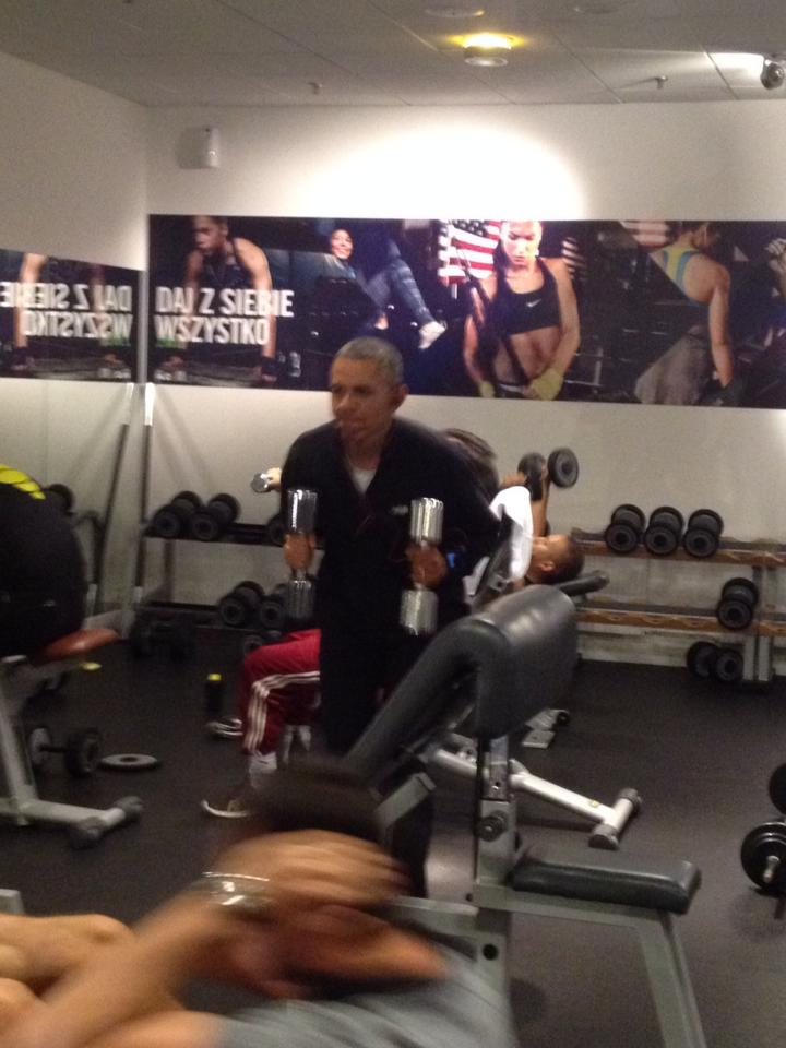Some Guy Filmed President Obama Working Out In a Polish Gym