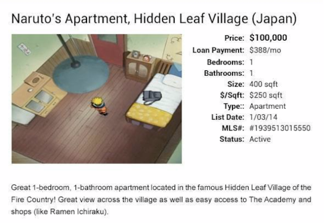 Naruto's apartment is both fictional and affordable