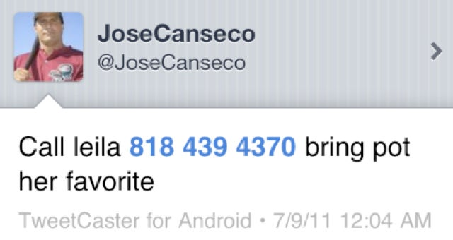 In His Latest Meltdown, Jose Canseco Decided To Publicize His Girlfriend's Phone Number, Drug Of Choice