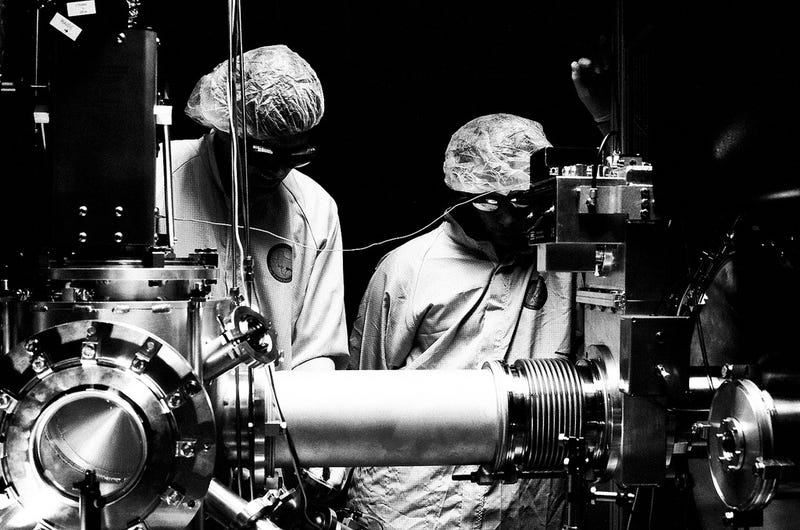 Real life laser scientists photographed as B-movie heroes