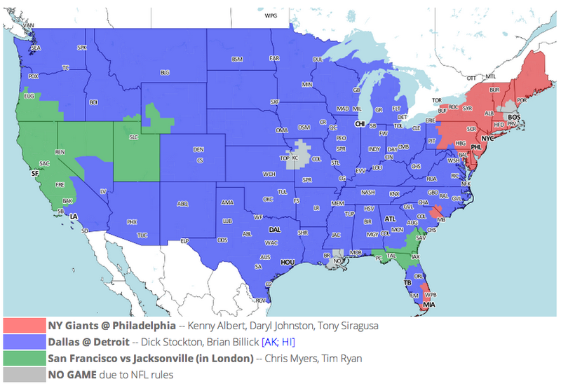 Which TV Market's Getting Screwed Today? Your Week 8 NFL Viewing Maps