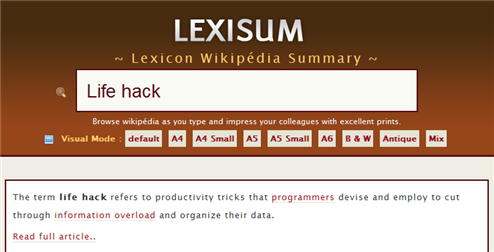 Get Printable Wikipedia Article Summaries with Lexisum