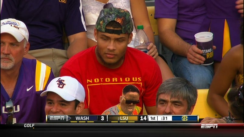 The Honey Badger Is In The Stands At LSU-Washington