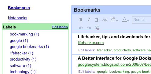 Google Notebook Integrates Google Bookmarks