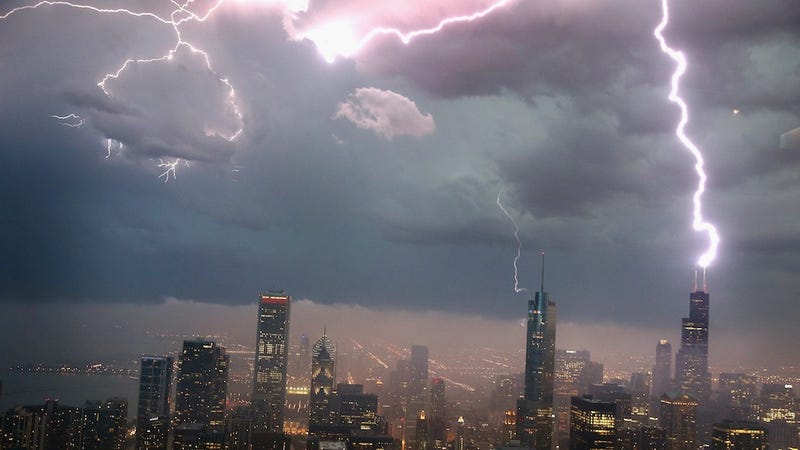Lightning Strikes the Willis Tower in Downtown Chicago