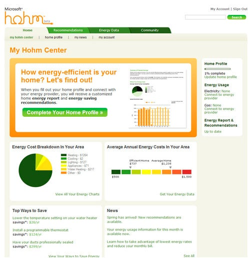 Microsoft Hohm Tracks Home Energy Usage via Webapp