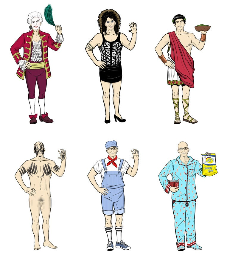 Every one of Dean Pelton's costumes from Community on a single poster