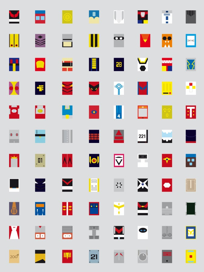 Your favorite friendly robots, reinterpreted as 88 minimalist squares