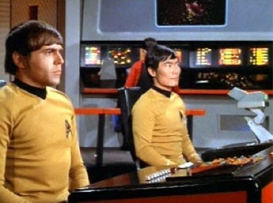 """Sulu and Chekov Talk Takei's Baritone, And How To Say """"Wessel"""""""